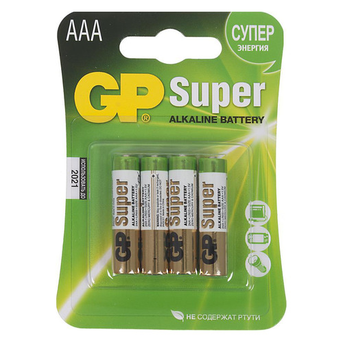 AAA Батарейка GP Super Alkaline 24A LR03, 4 шт. 20 pcs brand new aaa alkaline battery 1 5 v rechargeable aaa battery for remote control toy baterie light free shipping