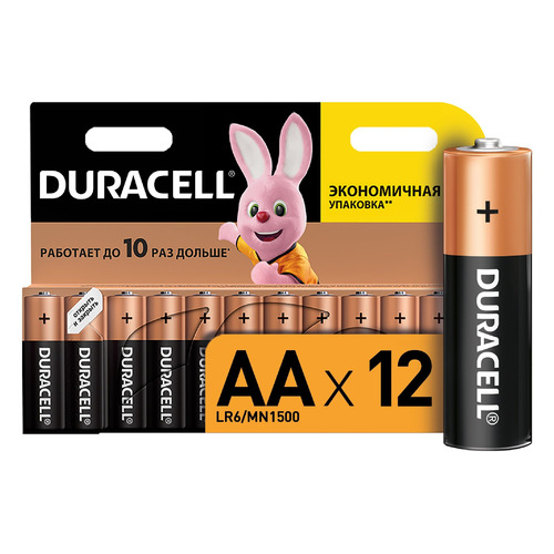 AA Батарейка DURACELL Basic LR6-12BL MN1500, 12 шт. батарейки duracell turbo max lr6 12bl aa 12 шт