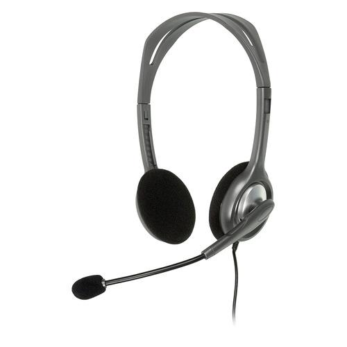 цена на Гарнитура LOGITECH Stereo H110, 981-000271, для контактных центров, накладные, серебристый