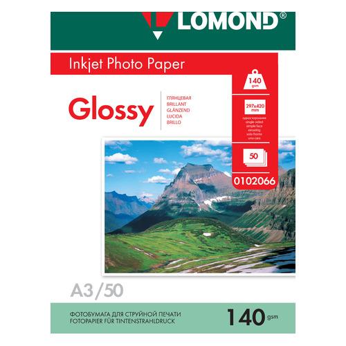 Фотобумага Lomond 0102066 A3/140г/м2/50л./белый глянцевое для струйной печати фотобумага lomond а4 240г м2 глянцевая 50л 102135
