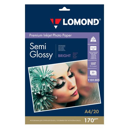 Бумага Lomond 1101305 A4/170г/м2/20л./белый полуглянцевое для струйной печати бумага фото lomond а4 суперглянец 20л 170г м2 одностор