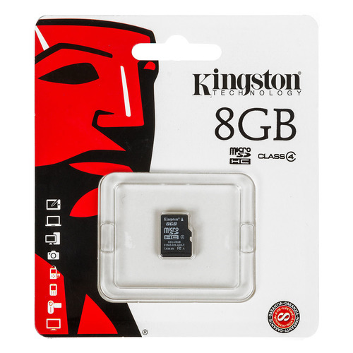 Карта памяти microSDHC KINGSTON 8 ГБ, Class 4, SDC4/8GBSP, 1 шт. цена