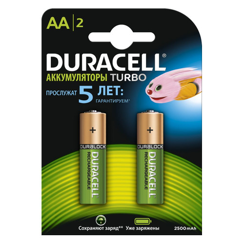 AA Аккумулятор DURACELL Rechargeable HR6-2BL, 2 шт. 2500мAч цена и фото