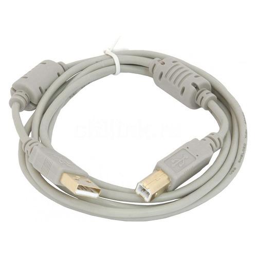 Фото - Кабель USB2.0 USB A(m) - USB B(m), ферритовый фильтр , 1.8м, серый кабель