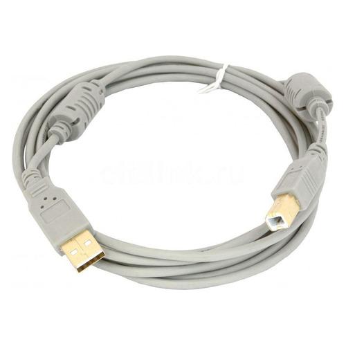 Фото - Кабель USB2.0 USB A(m) - USB B(m), GOLD , ферритовый фильтр , 3м, серый кабель usb2 0 hama h 53742 usb a m usb b m gold ферритовый фильтр 1 8м [00053742]