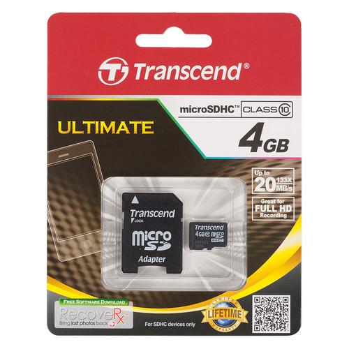 Карта памяти microSDHC TRANSCEND 4 ГБ, Class 10, TS4GUSDHC10, 1 шт., переходник SD transcend microsdhc class 4 32gb карта памяти