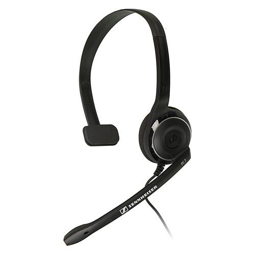 Гарнитура SENNHEISER PC 7, для контактных центров, накладные, черный [504196] гарнитура sennheiser pmx 686i sports вкладыши серый проводные