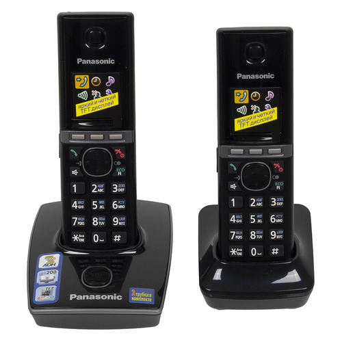 Радиотелефон PANASONIC KX-TG8052RUB, черный радиотелефон