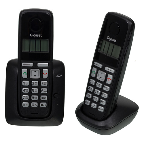 Радиотелефон GIGASET A220 Duo, черный gigaset repeater 2 0