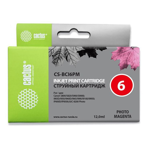 Картридж CACTUS CS-BCI6PM, светло-пурпурный new qy6 0049 printhead for pixus 860i 865r i860 i865 ip4000 ip4100 ip4100r mp770 mp790 mp750 mp760 mp780 printer