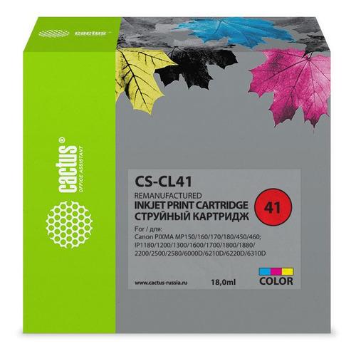 Картридж CACTUS CS-CL41, голубой / пурпурный / желтый чернила cactus cs cl41 желтый yellow 100мл для canon pixma mp150 mp160 mp170 mp180 mp210 mp220