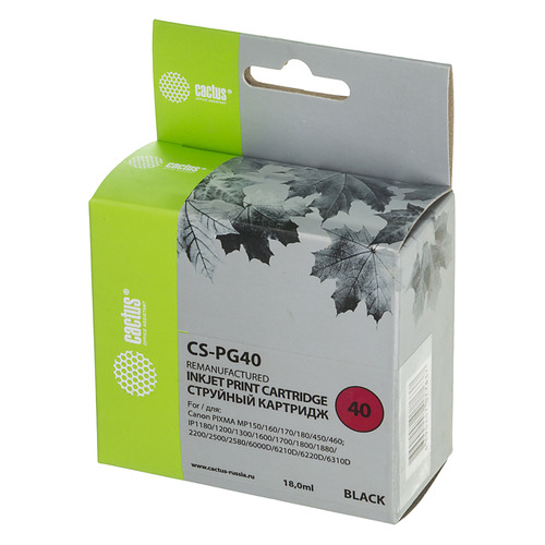 Картридж CACTUS CS-PG40, черный чернила cactus cs cl41 желтый yellow 100мл для canon pixma mp150 mp160 mp170 mp180 mp210 mp220