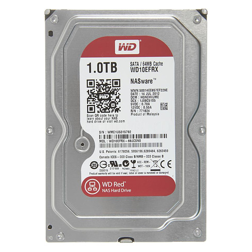 Жесткий диск WD Red WD10EFRX, 1Тб, HDD, SATA III, 3.5
