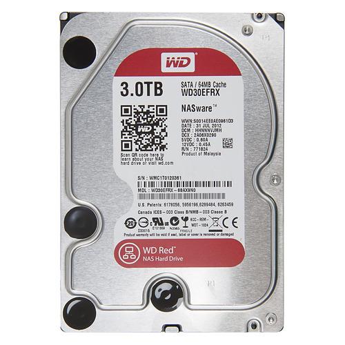 Жесткий диск WD Red WD30EFRX, 3Тб, HDD, SATA III, 3.5 жесткий диск wd blue wd10ezrz 1тб hdd sata iii 3 5