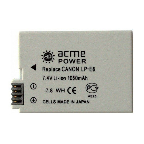 Фото - Аккумулятор ACMEPOWER AP-LP-E8, Li-Ion, 7.4В, 1050мAч, для зеркальных камер Canon EOS 700D/650D/600D/550D аккумулятор