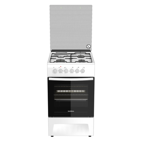 Газовая плита DARINA F KM 341 323 W, электрическая духовка, белый комбинированная плита darina fkm 341 323 w