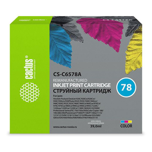 Картридж CACTUS CS-C6578A многоцветный color xiongcai compatible ink cartridges for hp 78 deskjet 1220c 3820 3822 6122 6127 920c 930c 932c 940c 950c printers for hp78