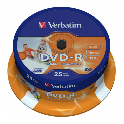 Оптический диск DVD-R VERBATIM 4.7Гб 16x, 25шт., cake box, printable [43538] magic cake box