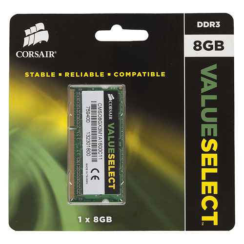 Модуль памяти CORSAIR CMSO8GX3M1A1600C11 DDR3 - 8Гб 1600, SO-DIMM, Ret все цены
