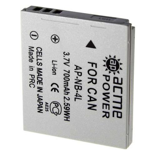 Аккумулятор ACMEPOWER AP-NB-4L, Li-Ion, 3.7В, 620мAч, для компактных камер Canon IXUS 115HS/130/220HS/230HS/30/40/50/55/60/65/70/75/80IS/100IS/110IS аккумулятор acmepower ap nb 4l dicom dc 4l canon nb 4l