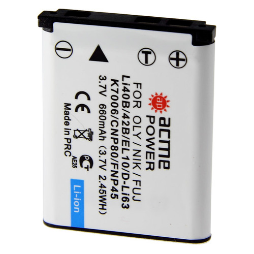 Аккумулятор ACMEPOWER AP-LI-40B, Li-Ion, 3.7В, 600мAч, для компактных камер Olympus mju-1050 SW/1060/1200/550WP/5000/5010/700/720/725/730/740/750/760/770/780/790 SW/7000/7010/7030/7040/820/830/840/850SW, Olympus mju TOUGH-3000