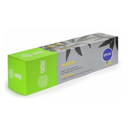 Картридж CACTUS CS-EPS187, желтый perseus toner cartridge for epson aculaser cx11 c1100 c1100n cx11n s0501 87 88 89 90 color full high quality compatible