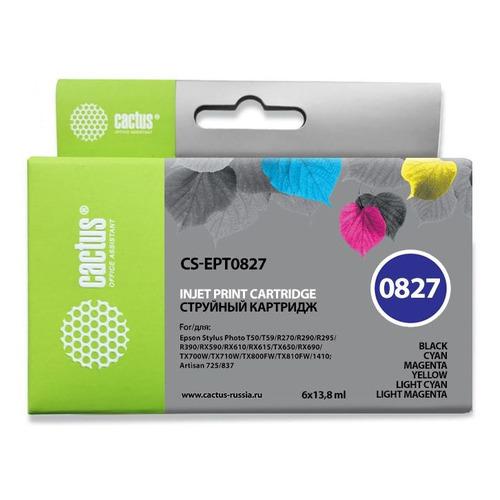 цена на Картридж CACTUS CS-EPT0827, черный / голубой / пурпурный / желтый / светло-голубой / светло-пурпурный