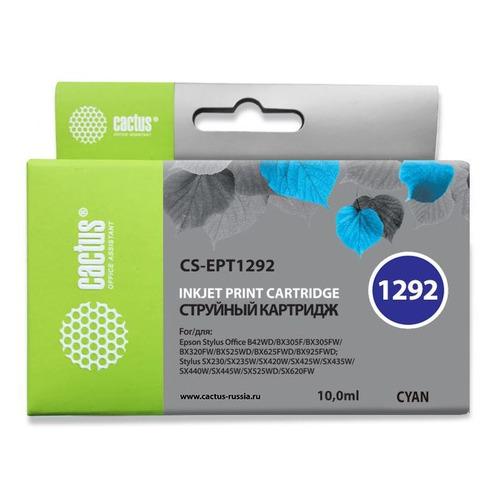 Картридж CACTUS CS-EPT1292, голубой картридж cactus cs ept1292 для epson stylus office b42 bx305 bx305f 100 мл голубой