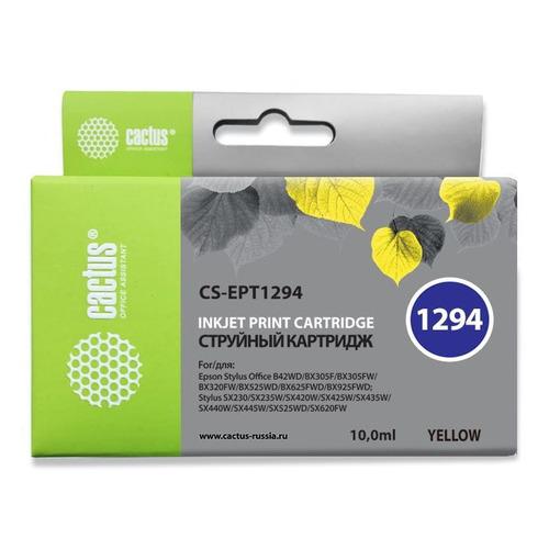 Картридж CACTUS CS-EPT1294, желтый картридж cactus cs ept1292 для epson stylus office b42 bx305 bx305f 100 мл голубой