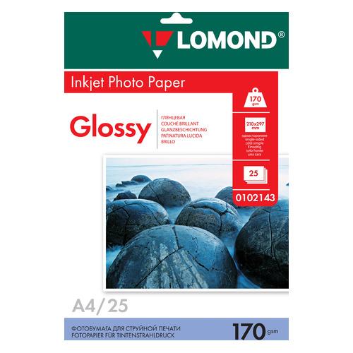 Фотобумага Lomond 102143 A4/170г/м2/25л./белый глянцевое для струйной печати бумага фото lomond а4 суперглянец 20л 170г м2 одностор