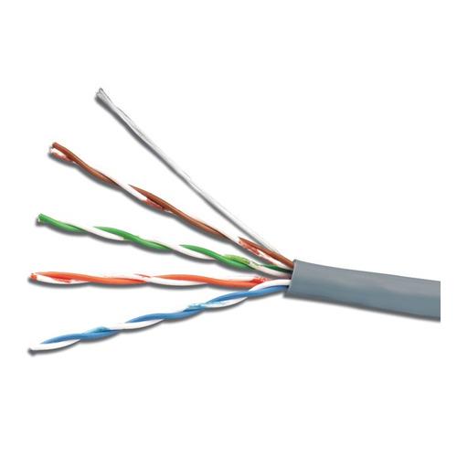 Кабель сетевой UTP, cat.5E, 100м, 4 пары, 24AWG, CCA, одножильный (solid), серый сетевой кабель бухта 100м utp 5e telecom ultra tus44148e 4 пары одножильный 24awg 0 51мм