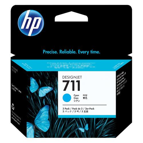 Картридж (тройная упаковка) HP 711, голубой [cz134a] картридж hp cz134a 711 cyan для designjet t120 t520 3x29ml