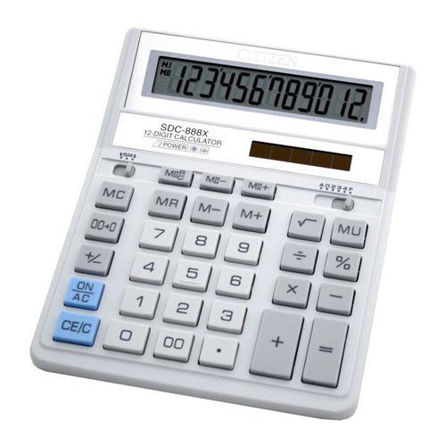 Калькулятор CITIZEN SDC-888XWH, 12-разрядный, белый калькулятор canon ls 123k mpk 12 разрядный розовый