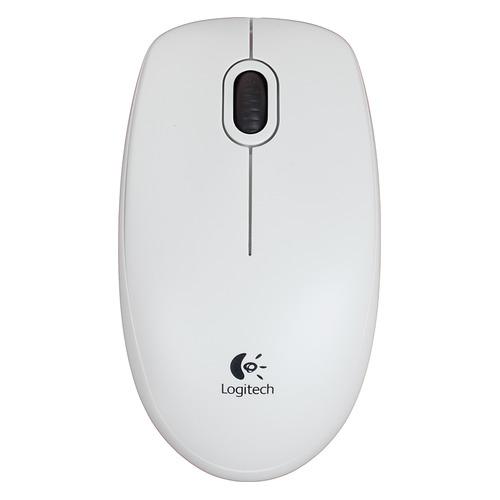 Фото - Мышь LOGITECH B100, оптическая, проводная, USB, белый [910-003360] мышь logitech g502 hero игровая оптическая проводная usb белый и черный [910 006097]