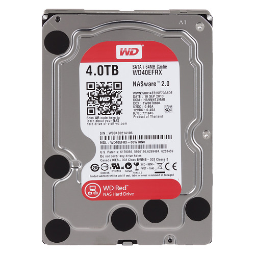"Жесткий диск WD Red WD40EFRX, 4Тб, HDD, SATA III, 3.5"" жесткий диск seagate barracuda st4000dm004 4тб hdd sata iii 3 5"