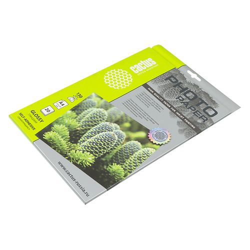 Фото - Фотобумага Cactus CS-GSA413020 A4/130г/м2/20л. глянцевое самоклей. для струйной печати бумага cactus cs gsa413020 cs ga413020 а4 130г кв м глянцевая 20л
