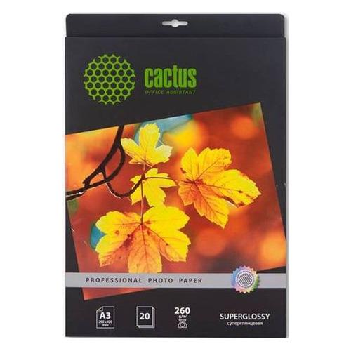 Фотобумага Cactus Prof CS-HGA326020 A3/260г/м2/20л./белый глянцевое для струйной печати бумага cactus cs hga626020 professional 10x15см 260г кв м суперглянцевая 20л