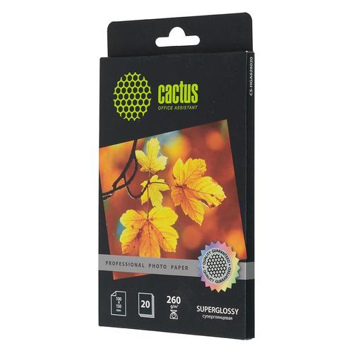 Фотобумага Cactus Prof CS-HGA626020 10x15/260г/м2/20л./белый глянцевое для струйной печати бумага cactus cs hga626020 professional 10x15см 260г кв м суперглянцевая 20л