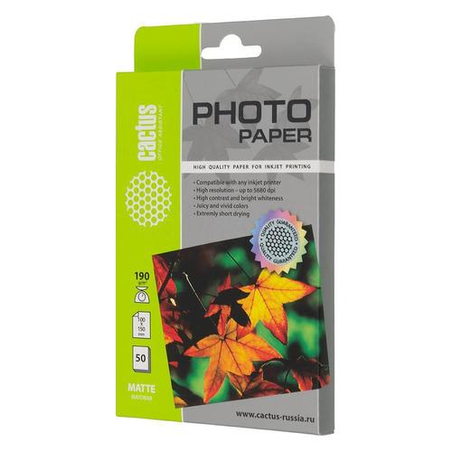 Фотобумага Cactus CS-MA619050 10x15/190г/м2/50л./белый матовое для струйной печати(CS-MA619050)