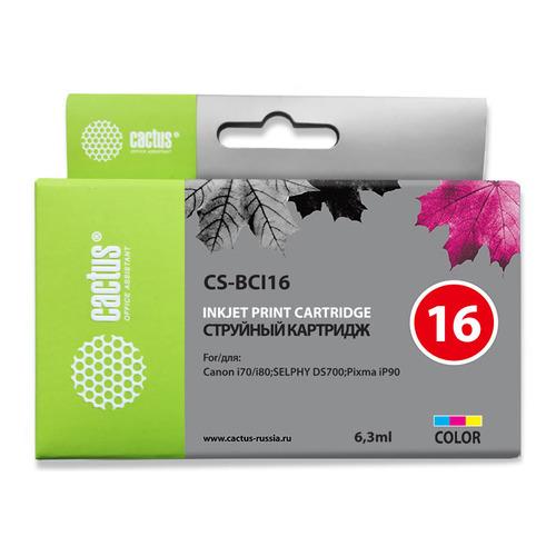 Картридж CACTUS CS-BCI16, многоцветный / пурпурный / голубой / желтый картридж canon bci 16 color для pixma ip90 selphy ds700 и ds810 двойная упаковка трехцветный 199 страниц