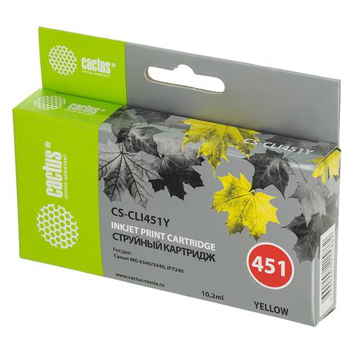 Картридж CACTUS CS-CLI451Y, желтый cactus cs pgi450 для canon mg6340 5440 ip7240 черный