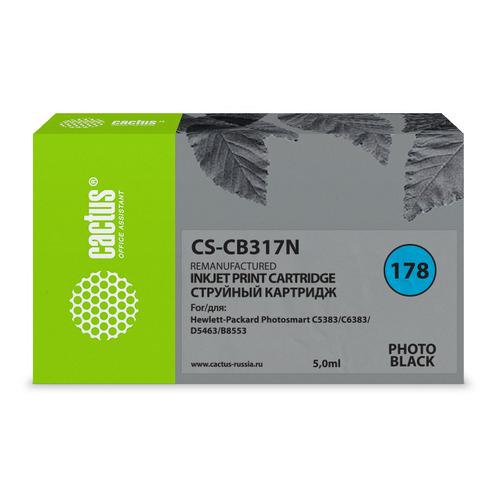 Картридж CACTUS CS-CB317N(CS-CB317), №178, фото черный cactus cs rk cb317 320 color заправка для hp photosmart b8553 c5383 c6383 d5463 5510 5515 6510 6515