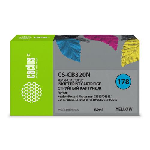 Картридж CACTUS CS-CB320N(CS-CB320), №178, желтый cactus cs rk cb317 320 color заправка для hp photosmart b8553 c5383 c6383 d5463 5510 5515 6510 6515