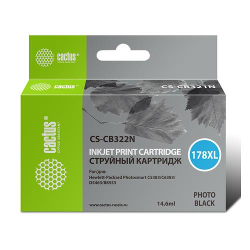 Картридж CACTUS CS-CB322N(CS-CB322), №178XL, фото черный cactus cs rk cb317 320 color заправка для hp photosmart b8553 c5383 c6383 d5463 5510 5515 6510 6515