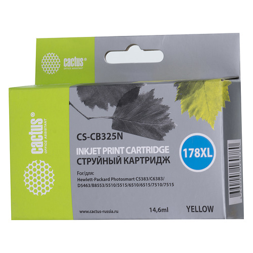 Картридж CACTUS CS-CB325N(CS-CB325), №178XL, желтый cactus cs rk cb317 320 color заправка для hp photosmart b8553 c5383 c6383 d5463 5510 5515 6510 6515