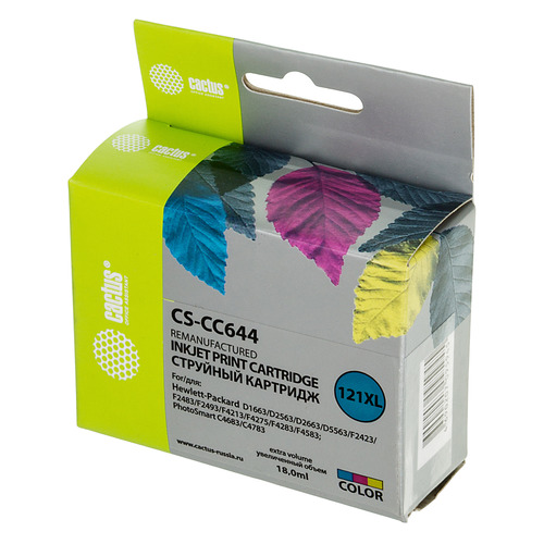 Картридж CACTUS CS-CC644, №121XL, многоцветный цена 2017