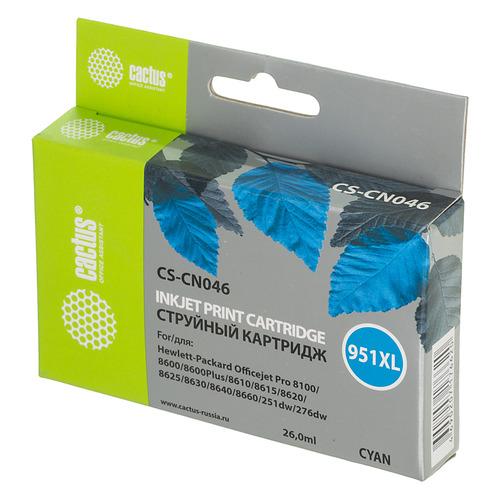 Картридж CACTUS CS-CN046, №951XL, голубой картридж cactus cs cn047 951xl для hp dj pro 8100 8600 purple