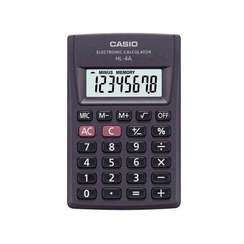 лучшая цена Калькулятор CASIO HL-4A, 8-разрядный, черный