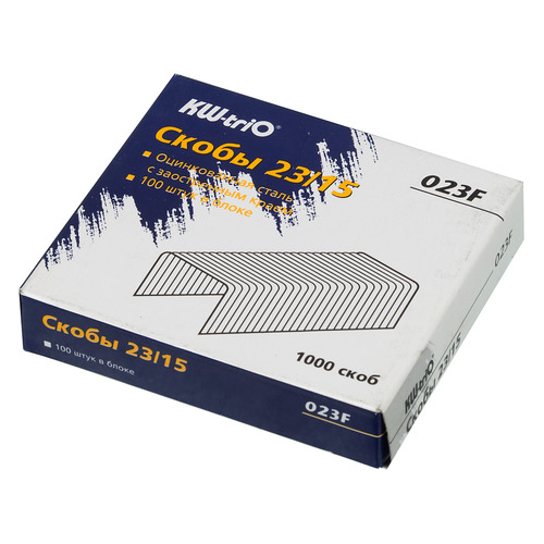 Фото - Упаковка скоб для степлера KW-TRIO 023F, 23/15, 1000шт, картонная коробка 15 шт./кор. упаковка скоб для степлера kw trio 0246 24 6 1000шт картонная коробка 20 шт кор