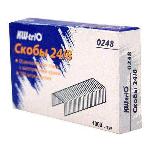 Фото - Упаковка скоб для степлера KW-TRIO 0248, 24/8, 1000шт, картонная коробка 60 шт./кор. упаковка дыроколов kw trio 906 24 шт кор